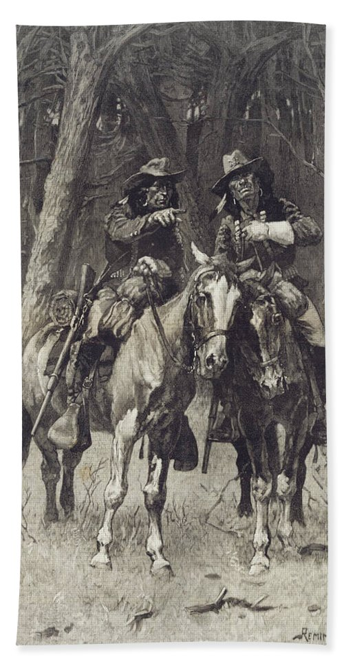 Frederic Remington Bath Sheet featuring the drawing Cheyenne Scouts Patrolling The Big Timber Of The North Canadian Oklahoma by Frederic Remington