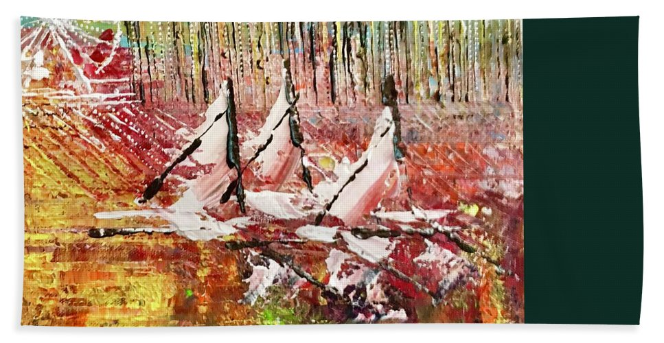 Sailboats Hand Towel featuring the painting Chicago At It's Best by George Riney