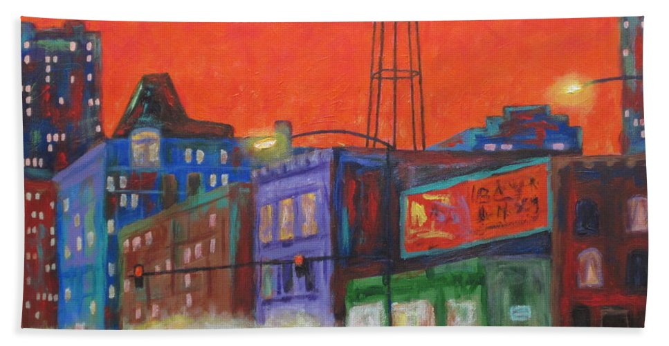 City Images Bath Sheet featuring the painting Chicago Avenue Looking West by J Loren Reedy