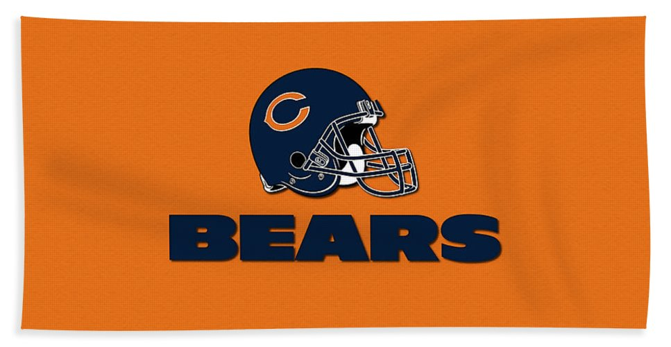 Football Bath Sheet featuring the mixed media Chicago Bears by Marvin Blaine