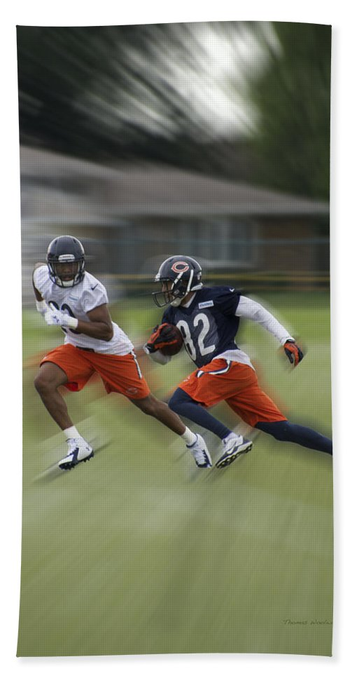 Chicago Bears Hand Towel featuring the photograph Chicago Bears Rb Michael Ford Moving The Ball Training Camp 2014 by Thomas Woolworth