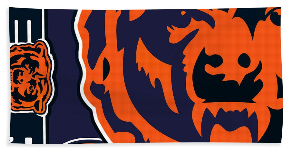 Chicago Hand Towel featuring the painting Chicago Bears by Tony Rubino