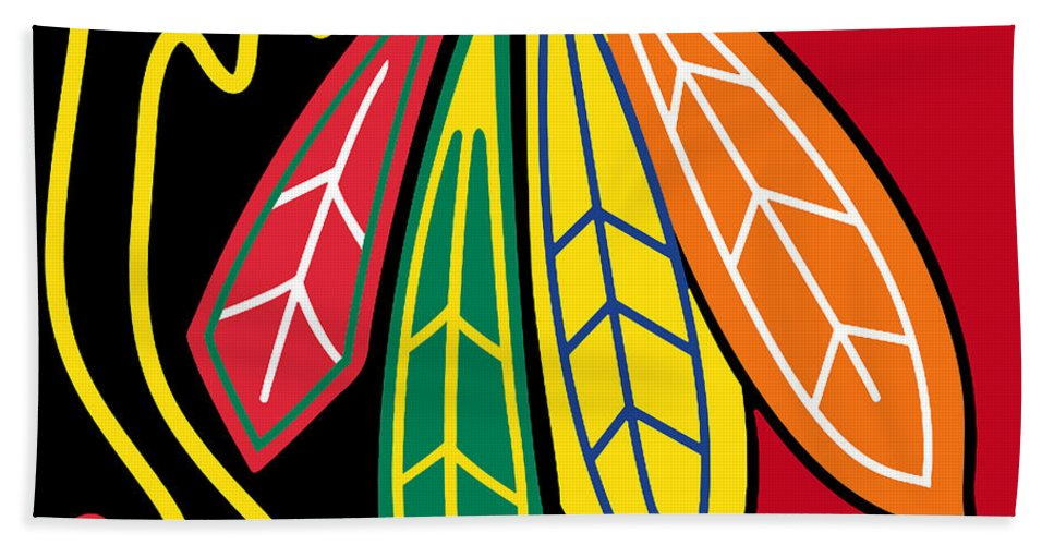 Chicago Hand Towel featuring the painting Chicago Blackhawks 2 by Tony Rubino