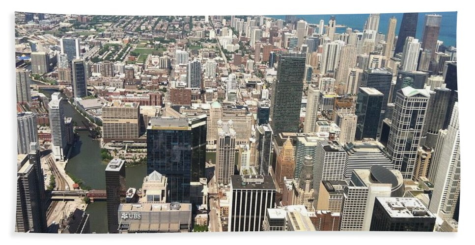 Chicago Bath Sheet featuring the photograph Chicago Buildings by Robin Maria Pedrero