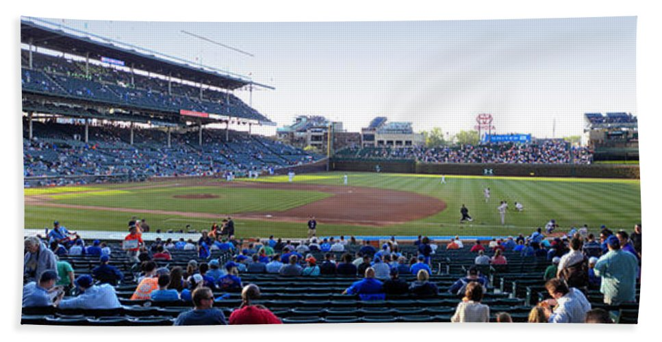 Chicago Cubs Bath Sheet featuring the photograph Chicago Cubs Pregame Time Panorama by Thomas Woolworth