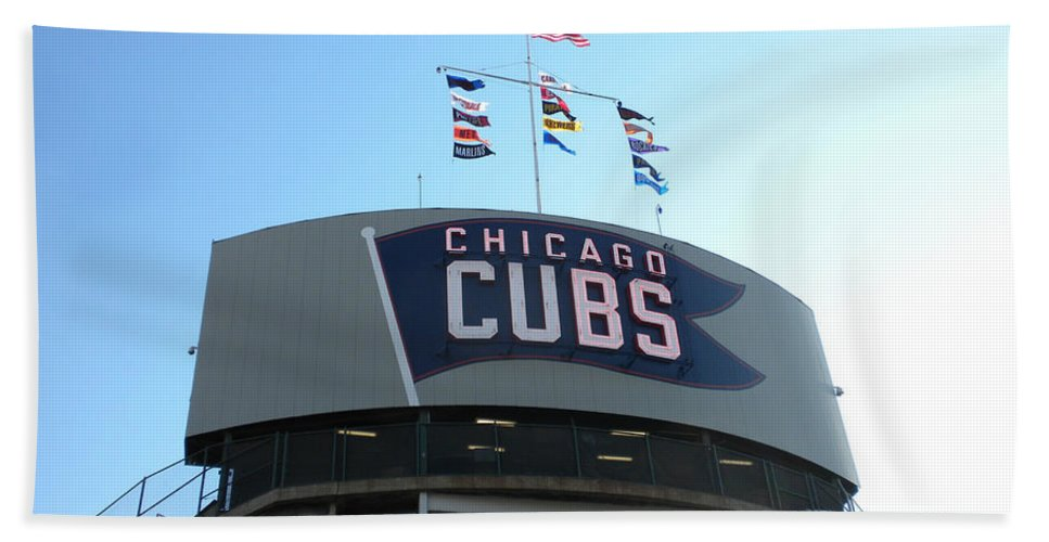 Chicago Cubs Bath Sheet featuring the photograph Chicago Cubs Signage by Thomas Woolworth