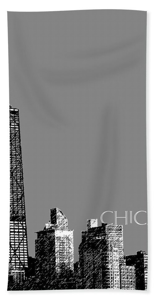 Architecture Bath Sheet featuring the digital art Chicago Hancock Building - Pewter by DB Artist
