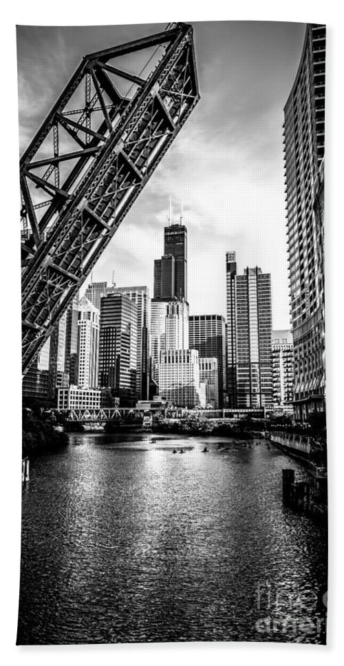 America Bath Towel featuring the photograph Chicago Kinzie Street Bridge Black and White Picture by Paul Velgos
