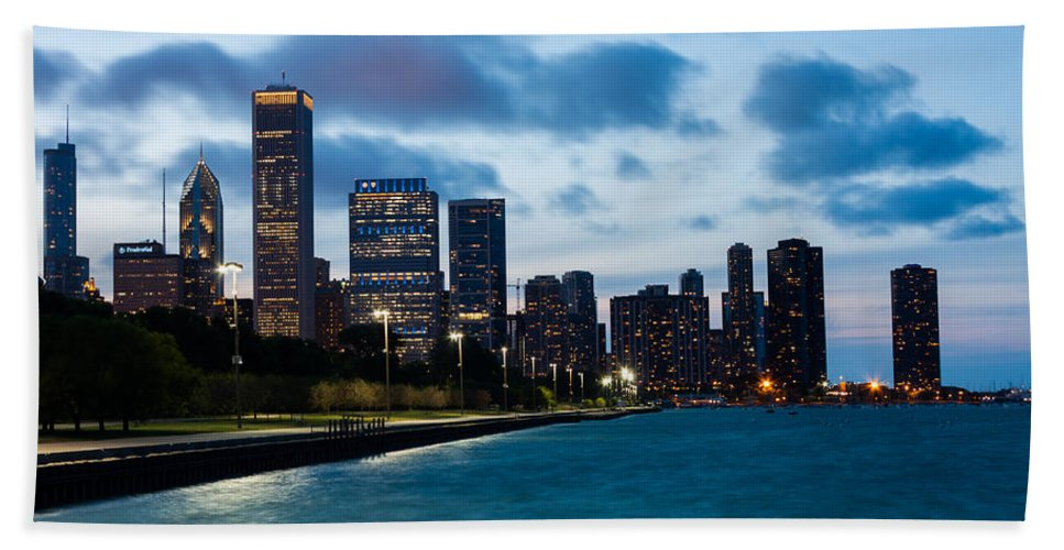 Chicago Skyline Hand Towel featuring the photograph Chicago Lake Front At Blue Hour by Semmick Photo