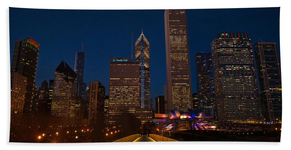 Chicago Hand Towel featuring the photograph Chicago Lights by Steve Gadomski