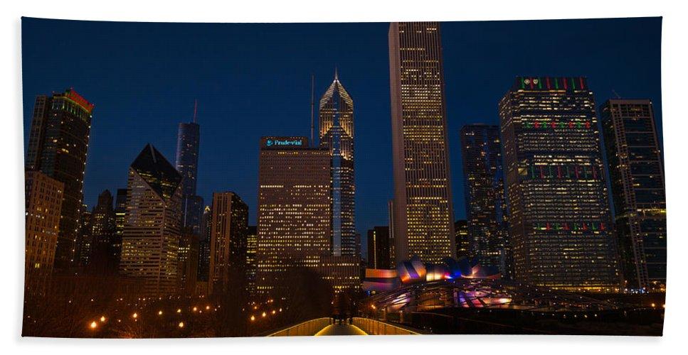 Chicago Bath Sheet featuring the photograph Chicago Lights by Steve Gadomski