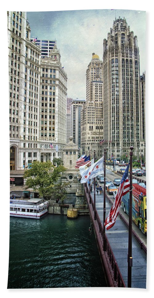 Chicago Bath Sheet featuring the mixed media Chicago Michigan Avenue V Hdr Textured by Thomas Woolworth