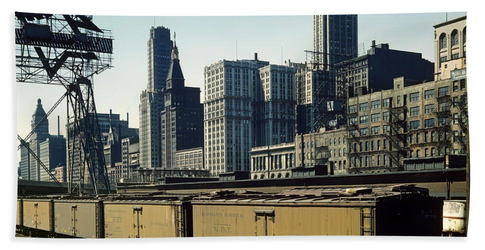 Chicago Bath Sheet featuring the photograph Chicago Railway Freight Terminal - 1943 by Mountain Dreams