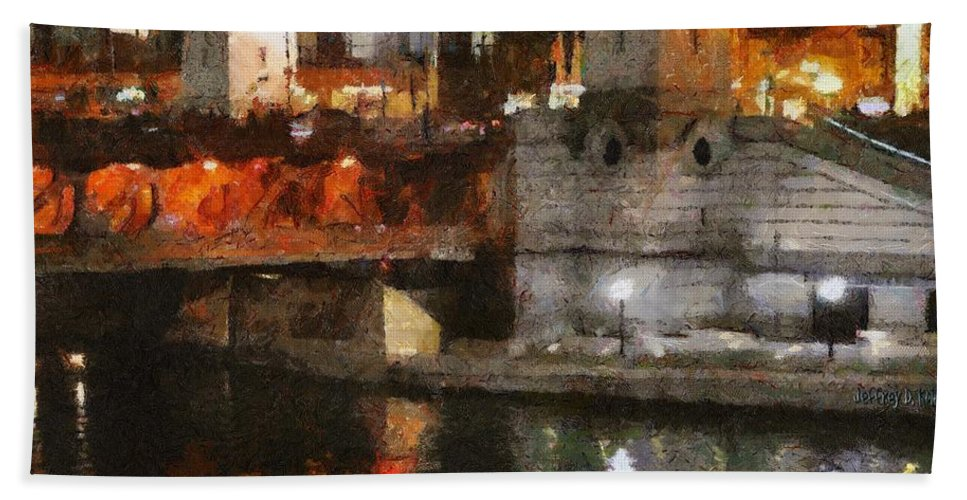 Bridge Hand Towel featuring the painting Chicago River At Michigan Avenue by Jeffrey Kolker