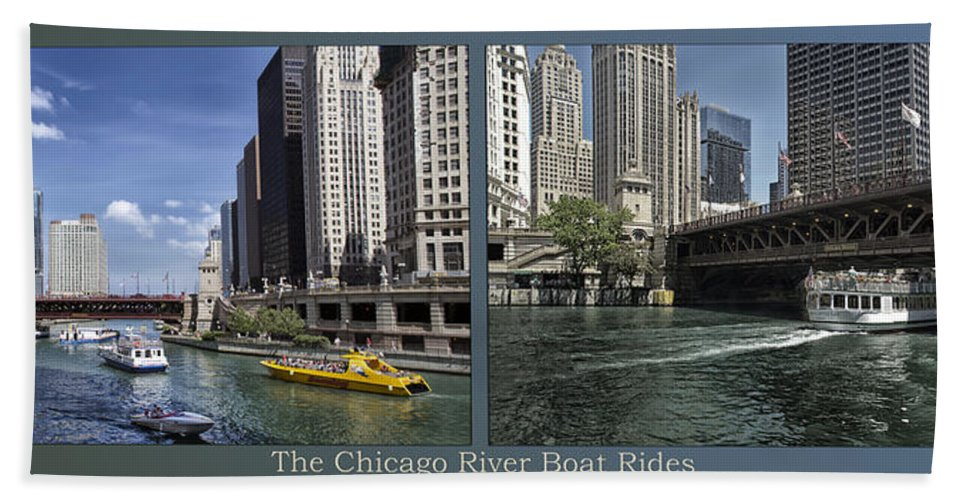Riverwalk Bath Towel featuring the photograph Chicago River Boat Rides 2 Panel by Thomas Woolworth