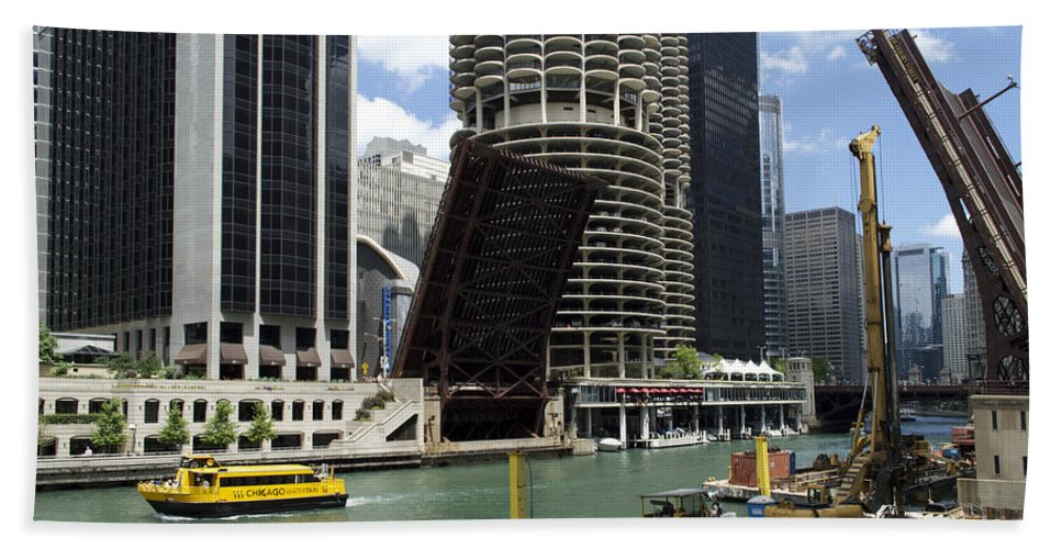 Riverwalk Bath Towel featuring the photograph Chicago River Walk Construction by Thomas Woolworth