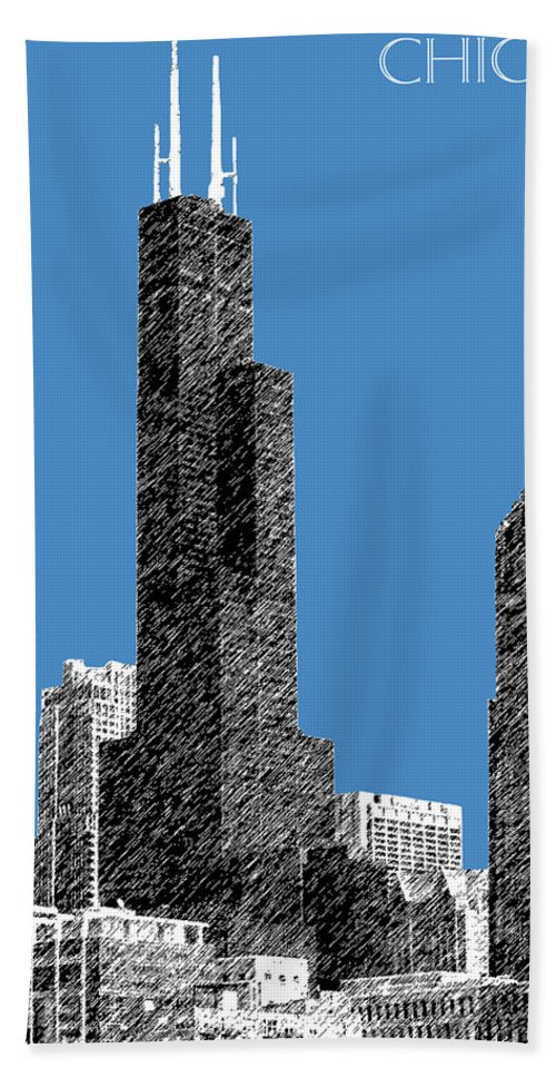 Architecture Bath Towel featuring the digital art Chicago Sears Tower - Slate by DB Artist