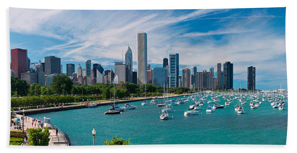 3scape Bath Sheet featuring the photograph Chicago Skyline Daytime Panoramic by Adam Romanowicz
