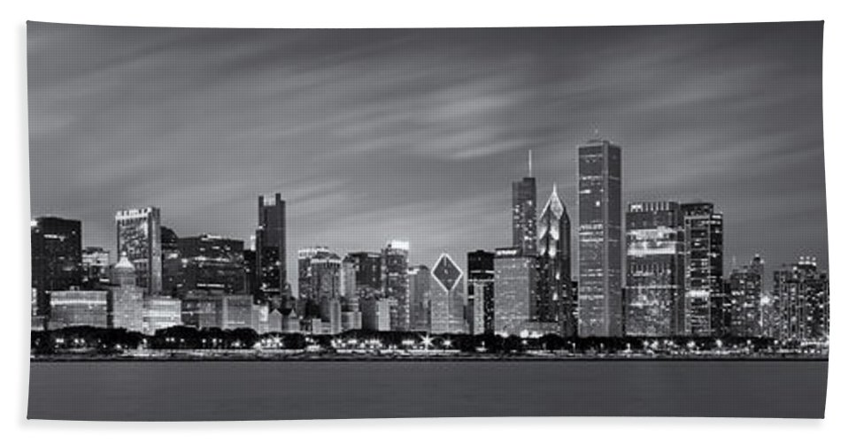 3scape Bath Sheet featuring the photograph Chicago Skyline at Night Black and White Panoramic by Adam Romanowicz