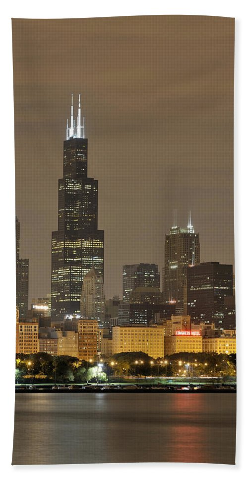 Chicago Skyline Hand Towel featuring the photograph Chicago Skyline At Night by Sebastian Musial