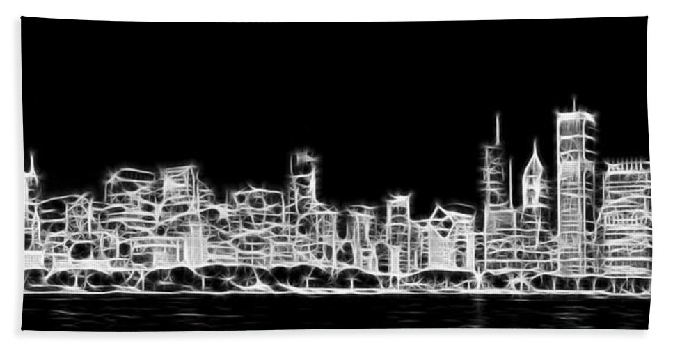3scape Bath Towel featuring the photograph Chicago Skyline Fractal Black and White by Adam Romanowicz