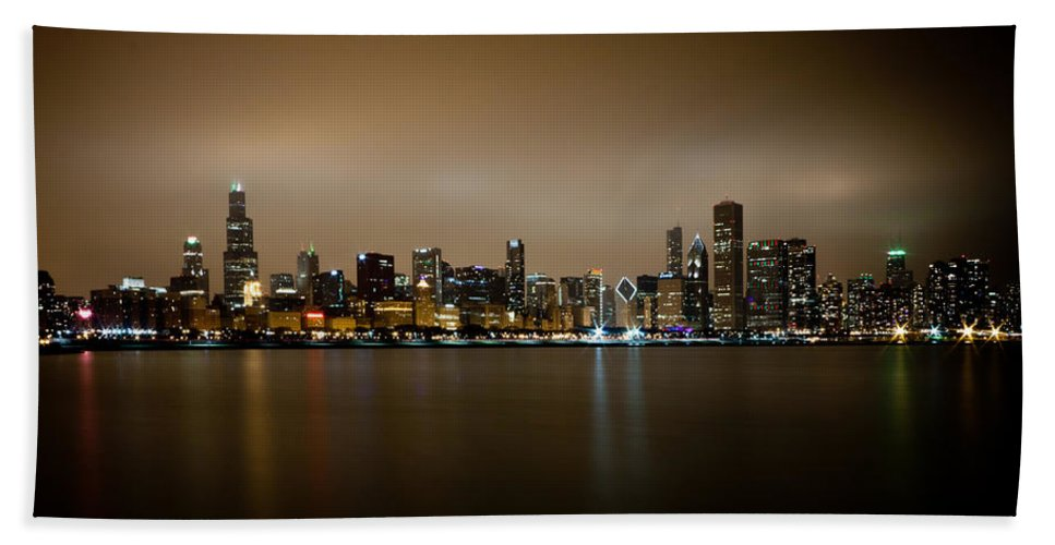 Chicago Hand Towel featuring the photograph Chicago Skyline In Fog With Reflection by Anthony Doudt