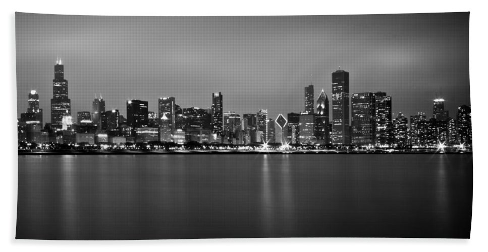 Chicago Hand Towel featuring the photograph Chicago Skyline In Fog With Reflection - Black And White by Anthony Doudt