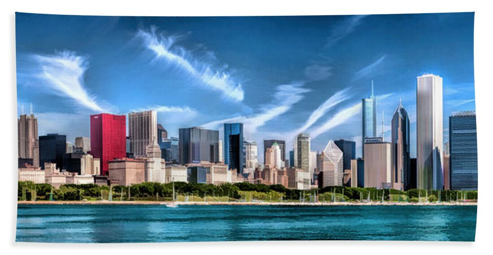Chicago Hand Towel featuring the painting Chicago Skyline Panorama by Christopher Arndt