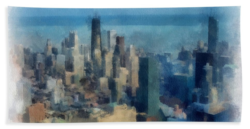 Architecture Hand Towel featuring the photograph Chicago Skyline Photo Art 06 by Thomas Woolworth