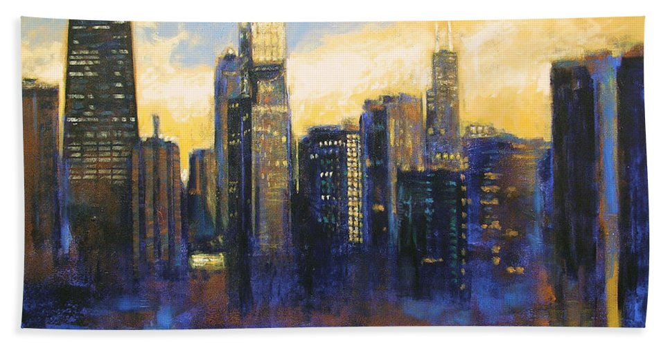 Chicago Skyline Bath Towel featuring the painting Chicago Sunset Looking South by Joseph Catanzaro