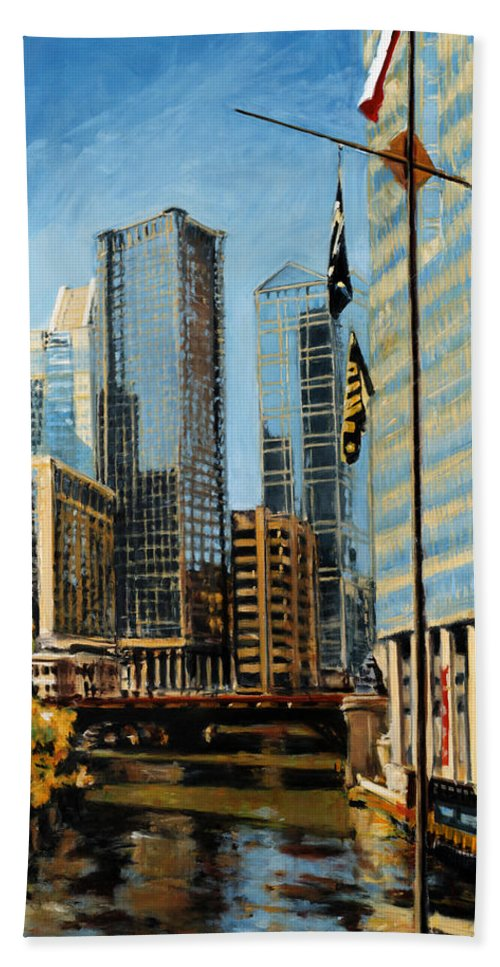 Robert Reeves Bath Sheet featuring the painting Chicago - The River From The East by Robert Reeves