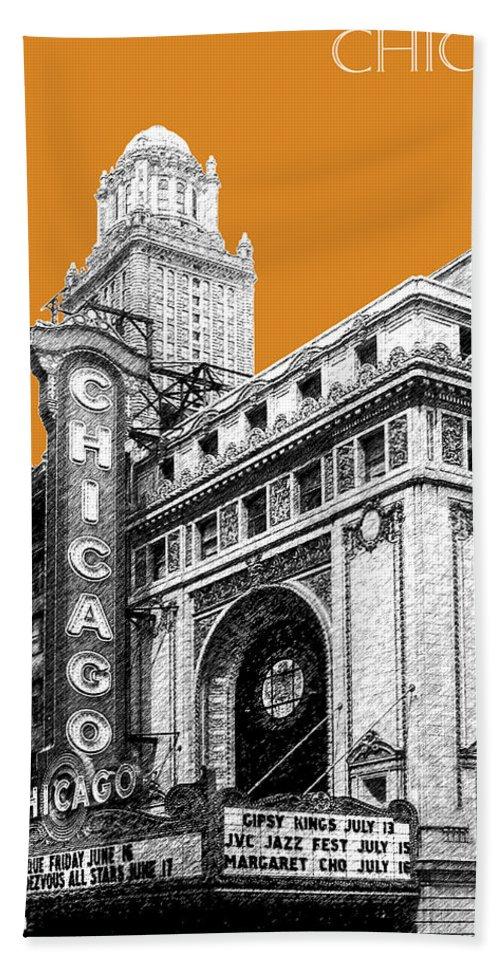 Architecture Bath Towel featuring the digital art Chicago Theater - Dark Orange by DB Artist