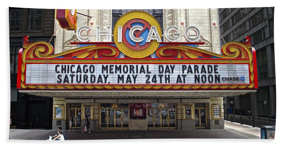 Chicago Bath Sheet featuring the photograph Chicago Theater Signage by Thomas Woolworth