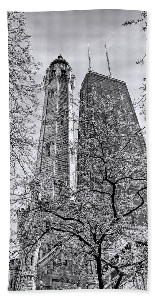 Chicago Water Tower Hand Towel featuring the photograph Chicago Water And Hancock Towers Black And White by Christopher Arndt