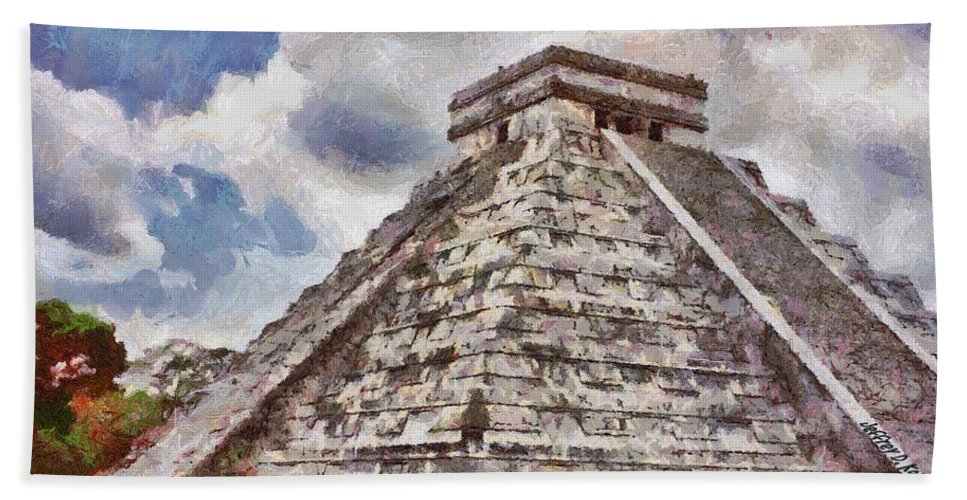 Yucatan Hand Towel featuring the painting Chichen Itza by Jeffrey Kolker