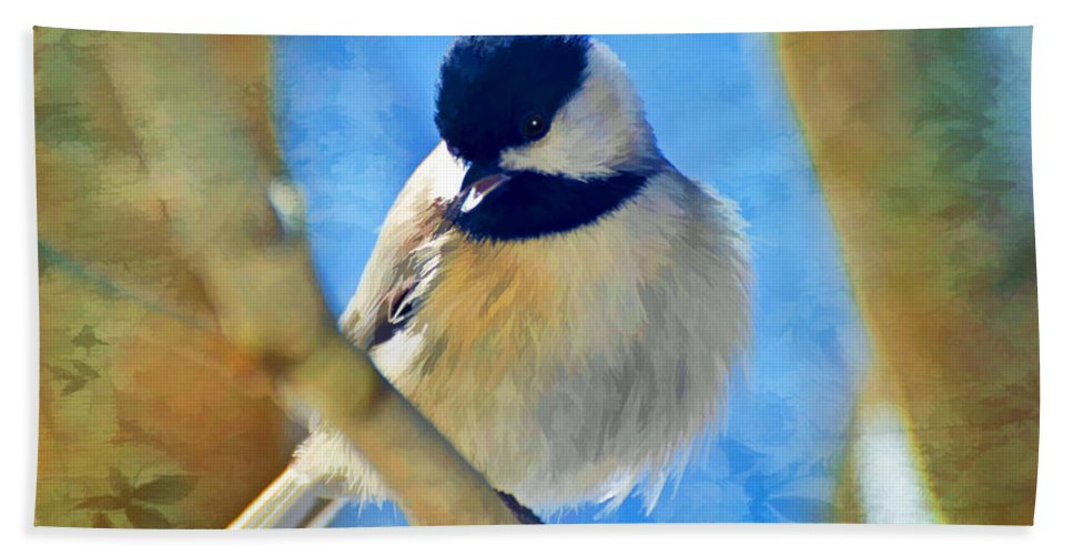 Chickadee Hand Towel featuring the photograph Chickadee On A Bright Day -digital Paint I by Debbie Portwood