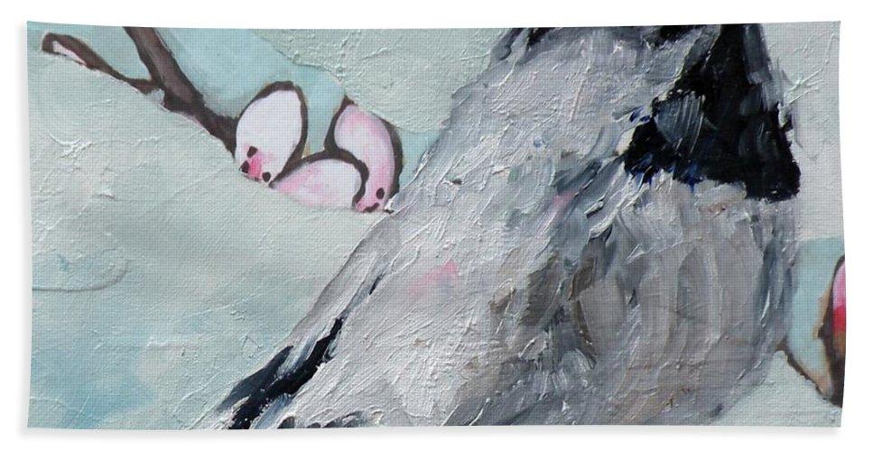Chickadee Hand Towel featuring the painting Chickadee by Saundra Lane Galloway