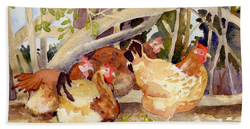 Hen Hand Towel featuring the painting Chickens In The Hedge II by Christine Burn