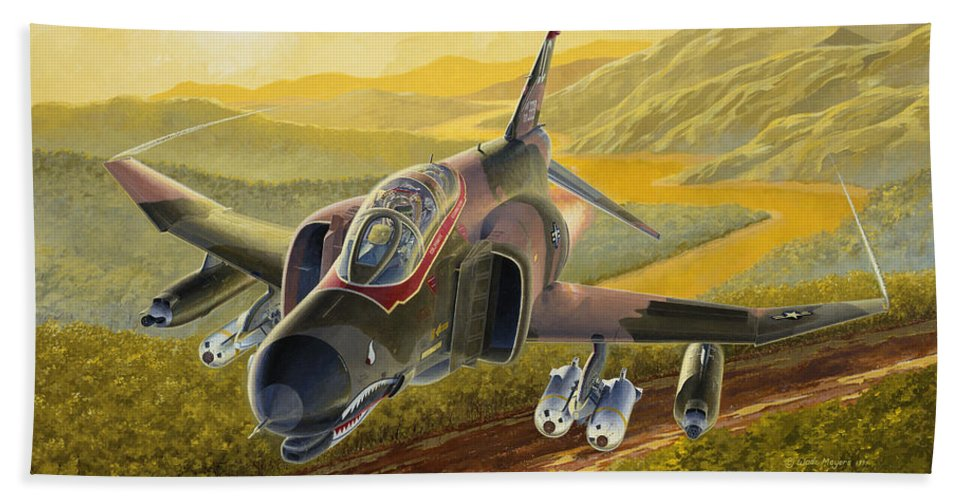 F-4 Bath Sheet featuring the painting Chico The Gunfighter by Wade Meyers