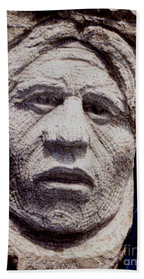 American Indians Bath Sheet featuring the sculpture Chief-santana by Gordon Punt
