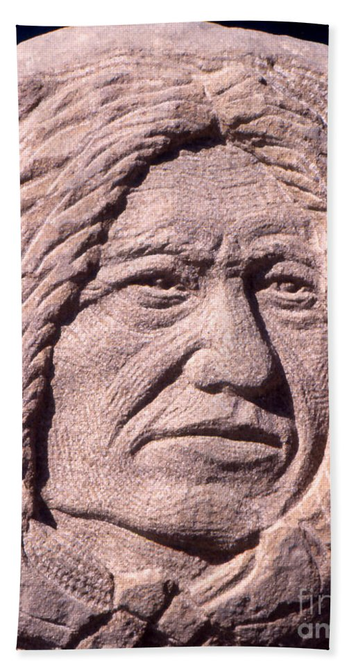 American Indians Bath Sheet featuring the sculpture Chief-spotted-tail by Gordon Punt