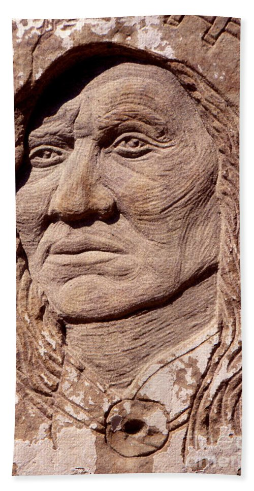 American Indians Bath Sheet featuring the sculpture Chief-washakie by Gordon Punt