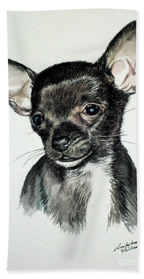 Dog Hand Towel featuring the painting Chihuahua Black 2 by Christopher Shellhammer