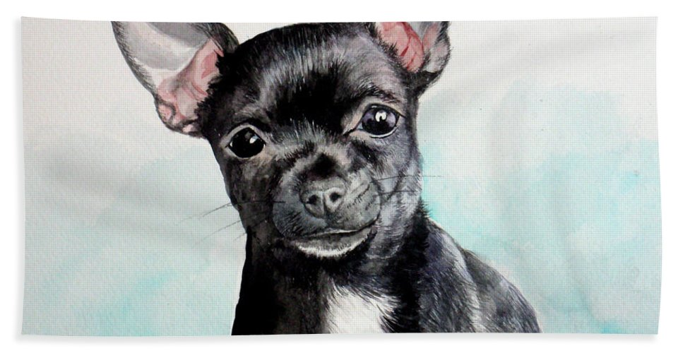 Dog Hand Towel featuring the painting Chihuahua Black by Christopher Shellhammer