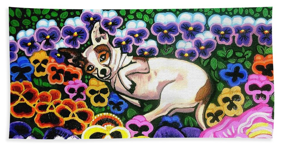 Dog Portrait Hand Towel featuring the painting Chihuahua In Flowers by Genevieve Esson