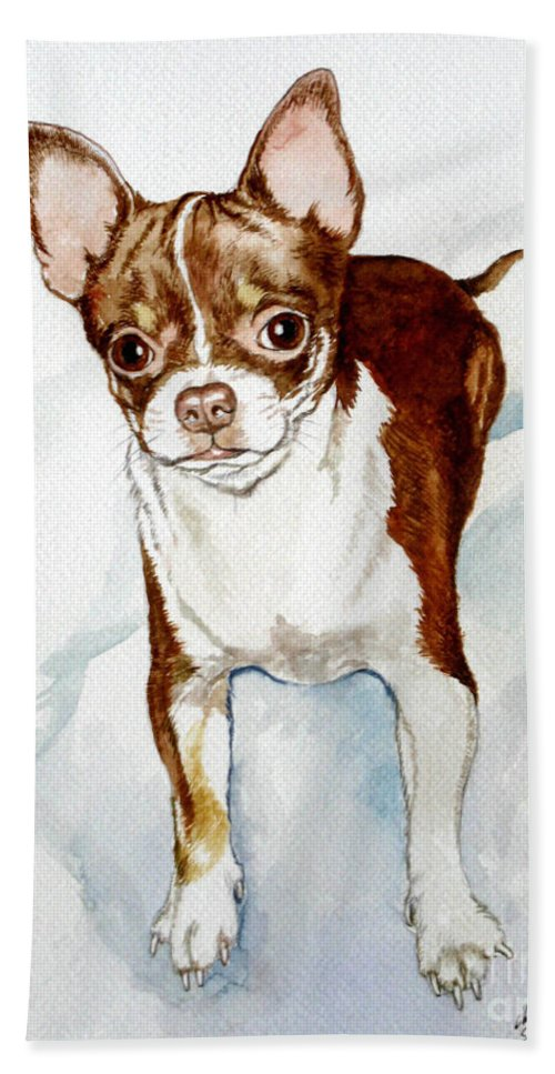 Dog Bath Towel featuring the painting Chihuahua White Chocolate Color. by Christopher Shellhammer