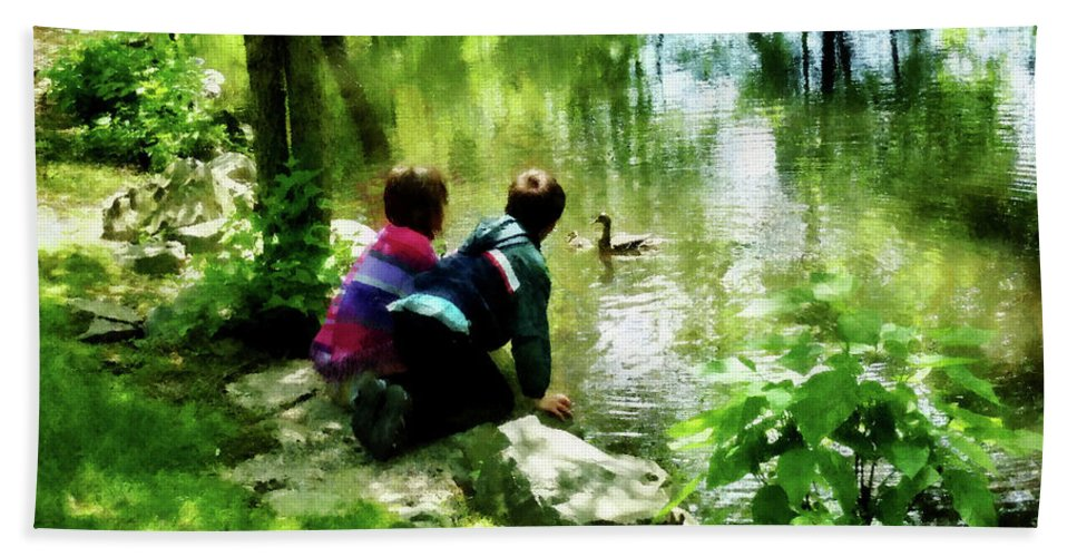Park Bath Sheet featuring the photograph Children And Ducks In Park by Susan Savad