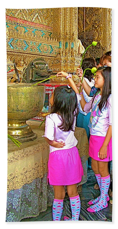 Children Bring Lotus Flowers To Royal Temple At Grand Palace Of Thailand In Bangkok Hand Towel featuring the photograph Children Bring Lotus Flowers To Royal Temple At Grand Palace Of Thailand by Ruth Hager