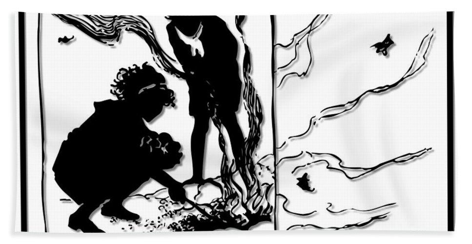 Children Bath Sheet featuring the digital art Children Burning Leaves Silhouette by Rose Santuci-Sofranko