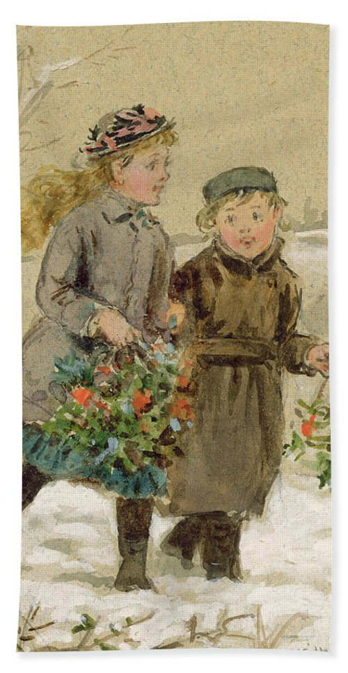 Girls; Young; Winter; Christmas; Bunches; Picking; Gathering; Victorian Hand Towel featuring the painting Children Playing In The Snow by George Goodwin Kilburne
